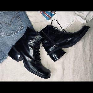 Vintage black lace up square boots.